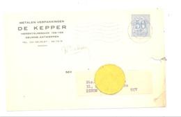 Carte Pré Imprimée Metalen Verpakkingen DE KEPPER / Emballages Métalliques à DEURNE En 1965 (van 2) - Marchands
