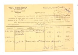 Carte Pré Imprimée - Assurances Paul MOYERSOEN à ANTWERPEN / ANVERS 1957 (van 2) - Marchands
