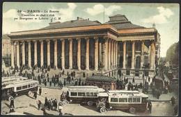 CPA-FRANCE-PARIS--OMNIBUS--METROPOLITAIN STATION --La Bourse---belles Couleurs--tres Animee - Nahverkehr, Oberirdisch