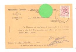 Carte Pré Imprimée - Administration Communale De DISON  En 1954 (van 2) - Cartes Postales