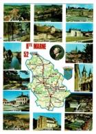 Contour Géographique - Haute -Marne, 52 - Multivues 15 Vues, Buste Diderot, Blason - Texte Au Verso - Pas Circulé - Maps