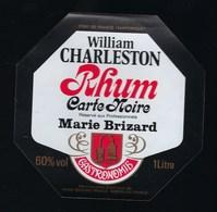 étiquette  Rhum William Charleston Carte Noire Réservé Aux Professionnels Marie Brizard Gastronomie 1l 60% - Rhum