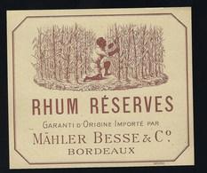 """étiquette  Rhum Réserves Garantie D'origine Importé Par Malher Besse & C° Bordeaux """" La Récolte"""" - Rhum"""