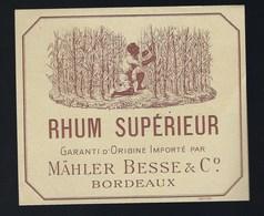 """étiquette  Rhum Supérieur Garantie D'origine Importé Par Malher Besse & C° Bordeaux """" La Récolte"""" - Rhum"""