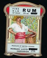 "étiquette  Rhum Vieux Morgan Lloyd  Guyanne Anglaise  ""homme"" - Rhum"