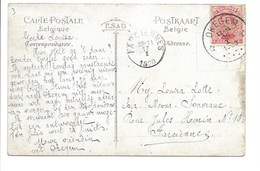 Postkaart Met Sterstempel Okegem Verstuurd Naar Farciennes. - Marcophilie