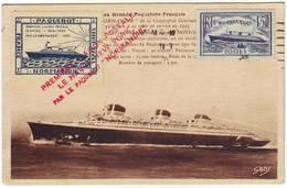 PREMIERE LIAISON POSTALE PARIS NEW YORK Par Le Paquebot NORMANDIE Carte Du 29 Mai 1935 , Vignette Speciale - Marcophilie (Lettres)