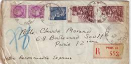 Lettre PNEUMATIQUE RECOMMANDEE 1947 - Marcophilie (Lettres)