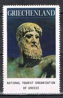 Viñeta, Label , Vignette GRECIA, Grece, Griechenland. Tourism, Turismo, Statue ZEUS ** - Variedades Y Curiosidades