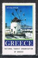 Viñeta, Label , Vignette GRECIA, Grece, Griechenland. Tourism, Turismo, MYKONOS ** - Variedades Y Curiosidades