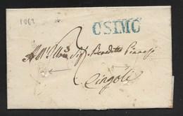 DA CASTELFIDARDO A CINGOLI - 11.6.1835 - DISINFETTATA. - 1. ...-1850 Prefilatelia