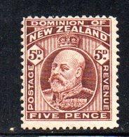 APR1072 - NEW NUOVA ZELANDA 1909 , 5 P. Nuovo *  Yvert 140   Filigrana  NZ/star. - 1907-1947 Dominion