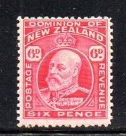 APR1073 - NEW NUOVA ZELANDA 1909 , 6 P. Nuovo *  Yvert 141   Filigrana  NZ/star. - 1907-1947 Dominion