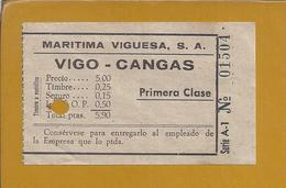 Boat Ticket From 'Maritima Viguesa SA' From Vigo To Cangas, Spain.Schiffsticket Von 'Maritima Viguesa SA' Von Vigo. - Boat