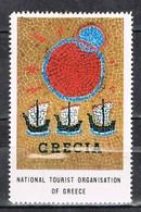 Viñeta, Label , Vignette GRECIA, Grece, Griechenland. Tourism, Turismo, Ceramica, Mosaico ** - Variedades Y Curiosidades