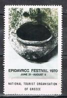 Viñeta, Label , Vignette GRECIA, Grece, Griechenland. Tourism, Turismo, Festival EPIDAUROS ** - Variedades Y Curiosidades