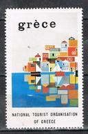 Viñeta, Label , Vignette GRECIA, Grece, Griechenland. Tourism, Turismo, Poblacion Y Mar ** - Variedades Y Curiosidades