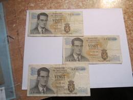 --------3- Billets Belge 20 Francs Belgique(( 16/06/64 ))-signature-différente------ - [ 6] Schatzamt