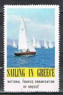 Viñeta, Label , Vignette GRECIA, Grece, Griechenland. Tourism, Turismo, VELA, Regatas ** - Variedades Y Curiosidades