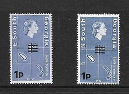 GEORGIE DU SUD 1976 COURANT DE 1963 SURCHARGE-2 TYPES  YVERT N°  NEUF MNH** - Géorgie Du Sud