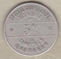 73. Haute Savoie. Chambéry. Société Coopérative Des Agents De La Cie P.L.M. 5 Francs 1898, En Maillechort - Monétaires / De Nécessité