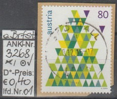"""13.11.2015 - SM """" Weihnachten 2015 - Tannenbaum"""" -  O Gestempelt Auf Briefstück - Siehe Scan  (3268o 01-02 ABs) - 1945-.... 2. Republik"""