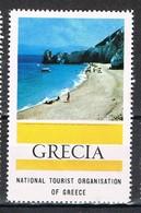 Viñeta, Label , Vignette GRECIA, Grece, Griechlñand. Tourism, Turismo, Playa Y Litoral ** - Variedades Y Curiosidades