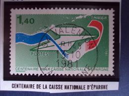 """1981  - Timbre Oblitéré N°   2165    """" 100 Ans Caisse Nationale Epargne -1.40 F Vert    """"     0.30 - France"""