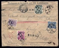 DEVANT- ALSACE-LORRAINE OCCUPÉE- METZ POUR BLIDA- TIMBRES EMPIRE N°37-38-39-41- CAD TYPE 7- 1881-  VOIR INFO - Alsace Lorraine