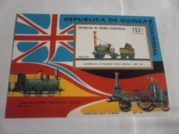 Miniature Sheet Imperf Locomotion Trains Stephensons Rocket Steam Train - Equatorial Guinea