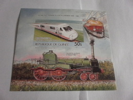Miniature Sheet Imperf 100 Years Of Rail Travel 1985 - Guinea (1958-...)