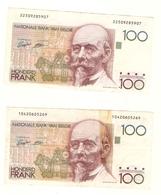 Belgique 2 Billets De 100 Francs Belges (dont 1 Recollé) Honderd Frank Nationale Bank Van Belgie Beyaert - [ 2] 1831-... : Royaume De Belgique