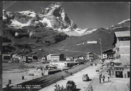 VALLE D'AOSTA - CERVINIA - VEDUTA ANNI '50 - ANIMATA - VIAGGIATA 1956 FRANCOBOLLO ASPORTATO - Italia