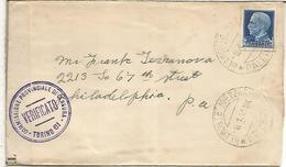 ITALIA CC A USA BELMONTE MEZZAGNO CON CENSURA DE TORINO 1941 - Storia Postale