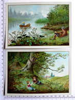 2  CHROMOS LITHOGRAPHIES GRAND FORMAT/PAYSAGES.. A LA CAMPAGNE..PÊCHEURS AU BORD DE L'EAU/   ENFANTS AVEC DES FLEURS - Vieux Papiers