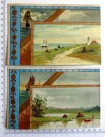 2  CHROMOS LITHOGRAPHIES DOREES.... GRAND FORMAT....PAYSAGES AVEC BATEAUX....ÉTANG...BORD DE MER - Old Paper