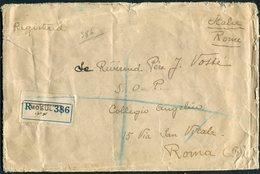 1929 Iraq Registered Mosul Cover - Collegio Angelico, Via San Vitale, Rome, Italy. Via London - Iraq