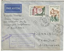 FRANCIA PRIMER VUELO PARIS FRANKFURT POR LUFTHANSA 1962 CARAVELLE - Aéreo