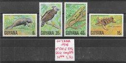 Animaux Divers Aigle Iguane Lamantin Tortue - Guyana N°511 à 514 1978 ** - Non Classificati