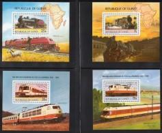 GUINEE - 1985 - 4 BLOCS N° 187/190  ** - TRAINS - Guinea (1958-...)