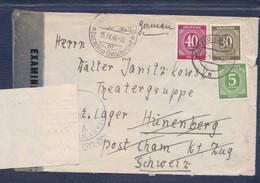 Lettre D'Alsfeld 02.04.1946 -> Camp De Hünenberg- Zensur/censored/Censure Des Internés + Zone US - Zone AAS