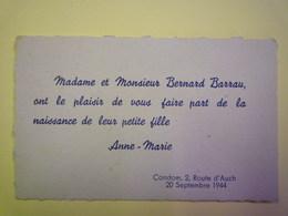 2019 - 1494  CONDOM  (Gers)  :  FAIRE-PART De Naissance De Anne-Marie  BARRAU  20 SEPT 1944   XXX - Birth & Baptism