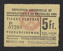TICKET D'ENTREE * TOEGANGSBEWIJS * EXPOSITION UNIVERSELLE INTERNATIONALE 1935 BRUXELLES * WERELDTENTOONSTELLING * - Tickets D'entrée