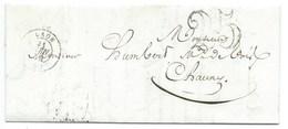 MP LAON AISNE POUR CHAUNY / 21 JUIN 1854 / TAXE 25 DOUBLE TRAIT - 1849-1876: Période Classique