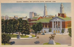 AR27 Bushnell Memorial And Lafayette Statue, Hartford, Conn. - Linen Postcard - Hartford