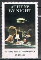 Viñeta, Label , Vignette GRECIA, Grece, Griechlñand. Tourism, Turismo, ATENAS By NIGHT ** - Variedades Y Curiosidades
