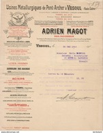 USINES METALLURGIQUES DE PONT ARCHER A VESOUL ANDRIEN MAGOT ............. FACTURE DE 1914 - France