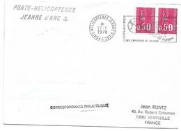 (C04) - Y&T N°1664 X2 PORTE HELICOPTERES JEANNE D'ARC => MARSEILLE 1978 - Posta Marittima