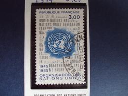 "1985  - Timbre Oblitéré N°  2374     ""  Organisation Des Nations Unis    ""    0.25 - France"
