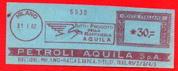 1962 PETROLI AQUILA - METER STAMP EMA FREISTEMPEL AFFRANCATURA MECCANICA - Erdöl